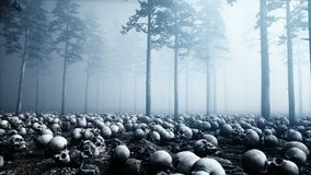 Scary old skulls in fog night forest. Fear and horror. Mistic and apocalypse concept. Realistic 4K animation.