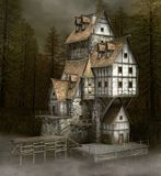 Fearful haunted house by a lake. Scary and old witch house in the black foggy fir forest