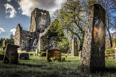 Scary. One of Sweden's oldest stone churches, St. Olof's dates back to the 12th century and is located in Sigtuna, Sweden royalty free stock photography