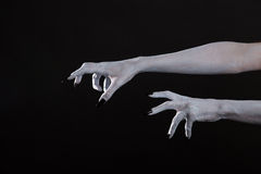Scary pale Halloween hands with black nails. Scary Halloween white hands with black nails, body art royalty free stock photo