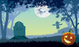 Scary park. Halloween scary park, illustration for Halloween holiday Stock Images