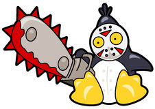 Scary penguin. Vector drawing of a scary penguin with a chainsaw Stock Photography
