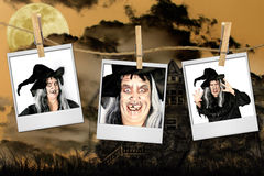 Scary Pictures of a Witch. On Polaroids With Haunted House Background stock photos