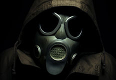 Scary portrait of a gas mask. On black background Royalty Free Stock Photo