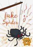 Scary Prank with Fake Spider for April Fools` Day, Vector Illustration Royalty Free Stock Images