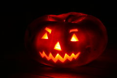 Scary pumpkin with candle ligth Royalty Free Stock Images