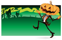 Scary Pumpkin Character banner Royalty Free Stock Images