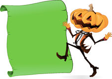 Scary Pumpkin Character with Scroll. Scary Halloween Character with a Pumpkin for a head with a dandy looking human body, dancing next to a Parchment scroll just Stock Photo