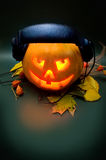 Scary pumpkin DJ Stock Images