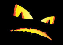 Scary pumpkin face in the dark Royalty Free Stock Photography