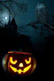 Scary pumpkin on Halloween nigh Royalty Free Stock Image