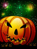 Scary pumpkin in the Halloween night. Stock Images