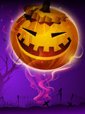 Scary pumpkin in the Halloween night. Royalty Free Stock Photo
