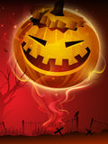 Scary pumpkin in the Halloween night. EPS 10 Stock Images