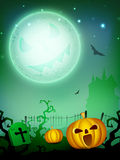 Scary pumpkin in the Halloween night. Royalty Free Stock Images