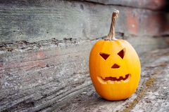 Scary pumpkin for Halloween teeth. Orange pumpkin with Halloween teeth stock photography