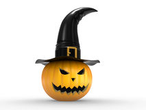A scary pumpkin in a hat of a witch Royalty Free Stock Image