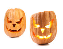 Scary pumpkin head jack lantern with evil faces. Stock Images