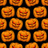 Scary pumpkin seamless pattern. Background for Halloween. Vector Royalty Free Stock Photo