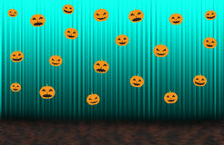 Scary pumpkins, Blue rising curtain Royalty Free Stock Image