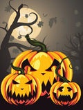 Scary Pumpkins in Forest Royalty Free Stock Photography