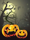 Scary Pumpkins in Forest Stock Image