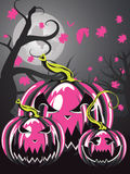 Scary Pumpkins in Forest Stock Images