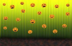 Scary pumpkins, Green rising curtain Stock Photography