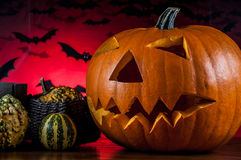 Scary pumpkins, halloween concept Royalty Free Stock Photos