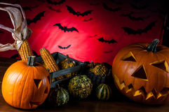 Scary pumpkins, halloween concept Stock Photos