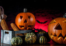 Scary pumpkins, halloween concept Stock Photo