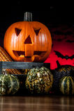 Scary pumpkins, halloween concept Stock Photography