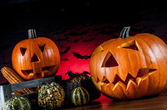 Scary pumpkins, halloween concept Stock Images