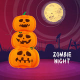 Scary Pumpkins for Halloween Night Party. Royalty Free Stock Images
