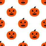 Scary Pumpkins for Halloween. Seamless pattern with pumpkins and horrible grimaces Stock Photos