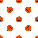 Scary Pumpkins for Halloween. Seamless pattern with pumpkins and horrible grimaces Royalty Free Stock Photography