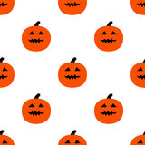 Scary Pumpkins for Halloween. Seamless pattern with pumpkins and horrible grimaces Stock Photo