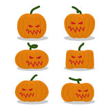 Scary pumpkins for Halloween set. terrible holiday symbol.  stock illustration