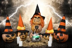 Scary pumpkins for Halloween. Witchcraft.Halloween design with pumpkins. Scary pumpkins for Halloween.  Witchcraft Royalty Free Stock Photo