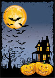 Scary pumpkins by night. Halloween party invitation vector card stock illustration