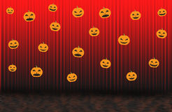 Scary pumpkins, Red rising curtain Royalty Free Stock Photo