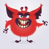 Scary red cartoon monster waving hands. Halloween vector illustration. Scary red cartoon monster waving hands. Halloween vector illustration Stock Image