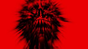 Scary red demon skull with a torn face. Looped animation. stock video footage