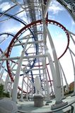 Scary roller coaster. Fisheye view of a roller coaster Royalty Free Stock Photography