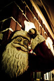 Scary Santa. A statue of santa clause holding a pen shot at an angle that portrayed him as an attacker Royalty Free Stock Photography