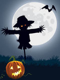 Scary scarecrow. Halloween scary scarecrow, illustration for Halloween holiday Stock Image