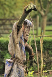 Scary Scarecrow. Seen in a garden, this hessian covered scarecrow, was exceptionally scary Royalty Free Stock Photo