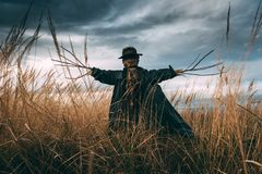 Scary scarecrow in a hat. On a cornfield in cloudy weather. Halloween concept stock photo