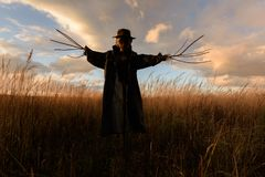 Scary scarecrow in a hat. On a cornfield in cloudy weather. Halloween concept stock photos
