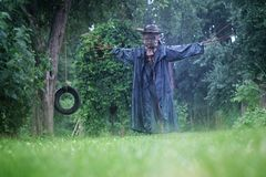 Scary scarecrow in a hat royalty free stock photos